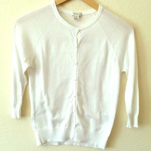 Halogen 3/4 Sleeve White Cardigan Sweater SM/Med